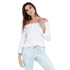 True Religion Women's Off Shoulder Button-Up Shirt